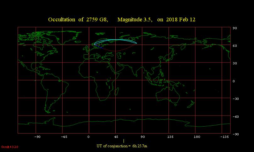 Obszar widoczności zakrycia gwiazdy ξ2 Sgr przez Księżyc 12 lutego 2018 r.