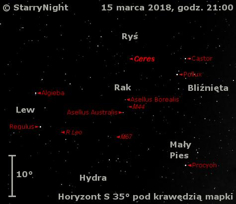 Położenie planety karłowatej (1) Ceres oraz mirydy R Leo na początku drugiej dekady marca 2018 r.