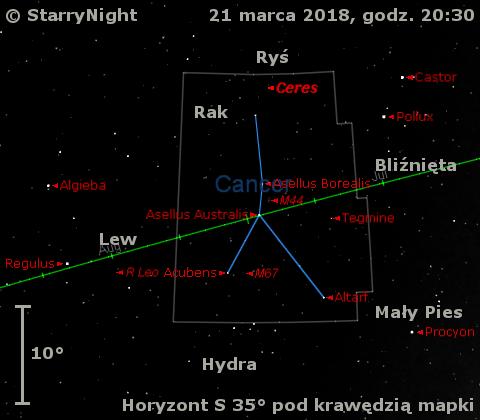 Położenie planety karłowatej (1) Ceres oraz mirydy R Leo w trzecim tygodniu marca 2018 roku.