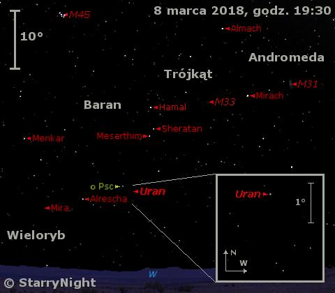 Położenie Urana i Miry w końcu pierwszej dekady marca 2018 r.