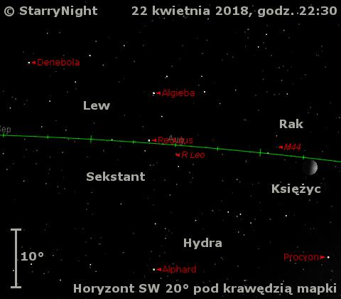 Położenie mirydy R Leo w trzecim tygodniu kwietnia 2018 r.