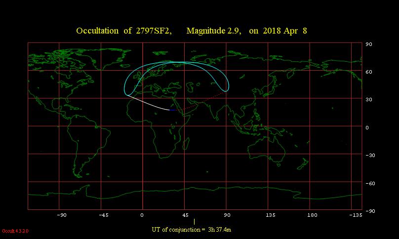 Mapka widoczności zakrycia gwiazdy π Sgr przez Księżyc 8 kwietnia 2018 r.