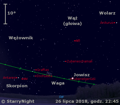 Położenie Jowisza w czwartym tygodniu lipca 2018 r.