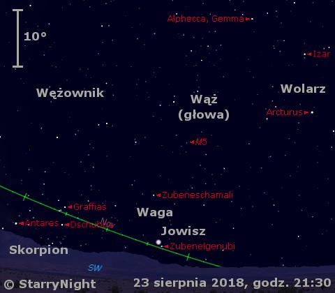 Położenie planety Jowisz w czwartym tygodniu sierpnia 2018 r.