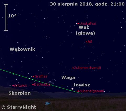 Położenie Jowisza wostatnim tygodniu sierpnia 2018 r.