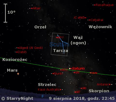 Położenie planet Saturn i Mars oraz planetoidy (4) Westa w drugim tygodniu sierpnia 2018 r.