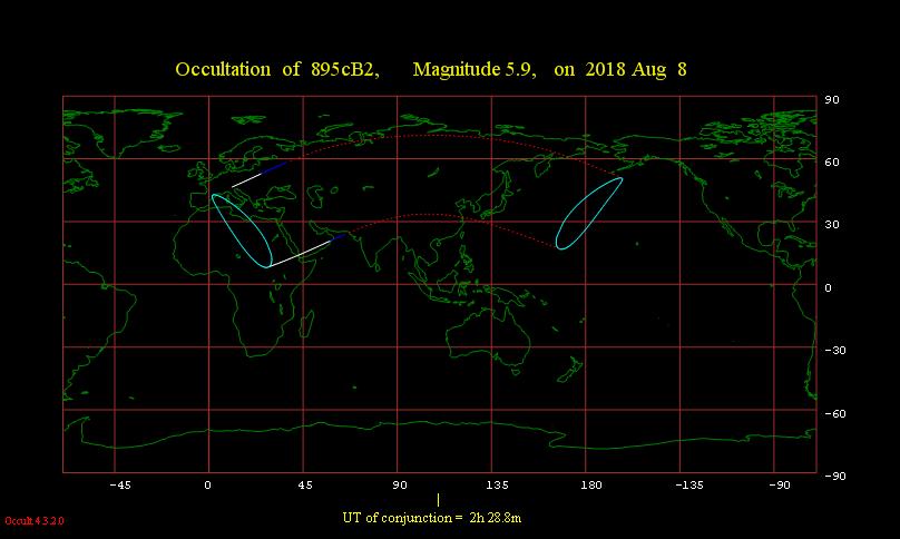 Obszar widoczności zakrycia gwiazdy 57 Ori przez Księżyc 8 sierpnia 2018 r.