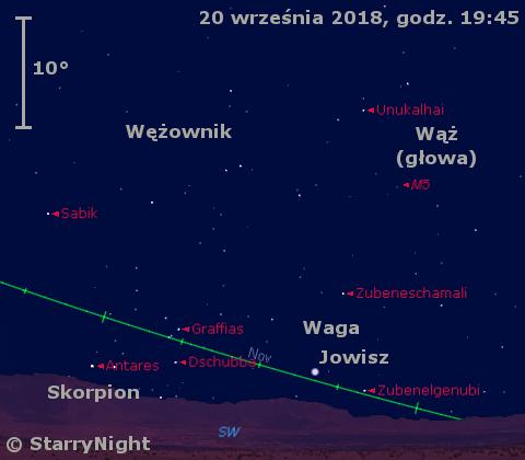 Położenie planety Jowisz w trzecim tygodniu września 2018 r.