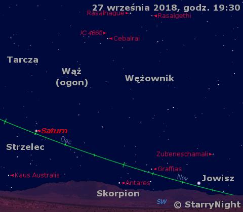 Położenie Jowisza i Saturna w czwartym tygodniu września 2018 r.