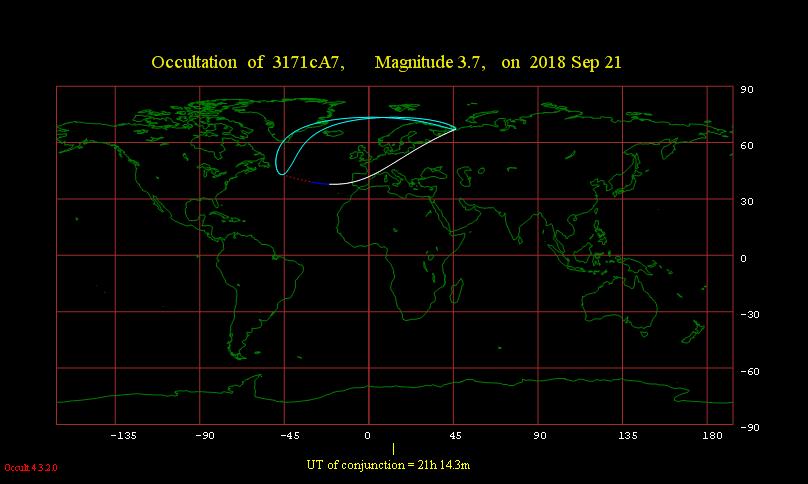 Obszar widoczności zakrycia gwiazdy γ Cap przez Księżyc 21 września 2018 r.