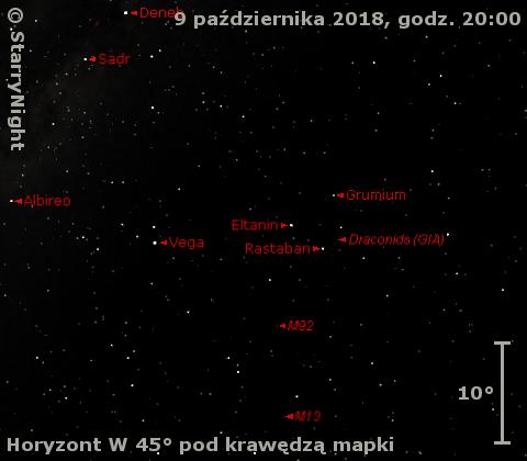 Położenie radiantu Draconidów w drugim tygodniu października 2018 r.