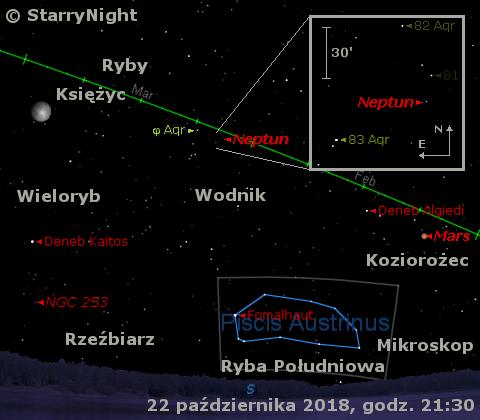 Położenie Neptuna w czwartym tygodniu października 2018 r.