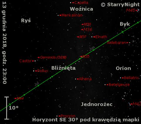 Położenie radiantu Geminidów wdrugim tygodniu grudnia 2018 r.