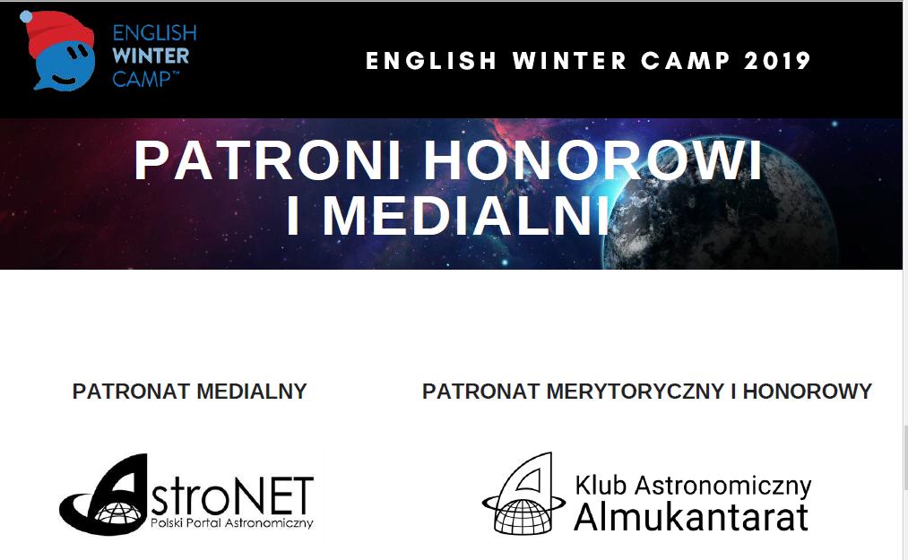 Półkolonie astronomiczne English Winter Camp 2019