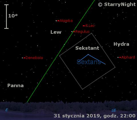 Położenie mirydy R Leo na przełomie stycznia i lutego 2019 r.