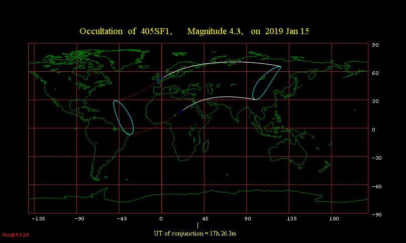 Obszar widoczności zakrycia przez Księżyc gwiazdy μ Ceti 15 stycznia 2019 r.