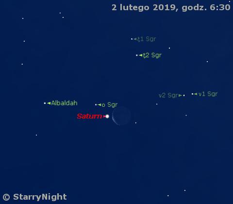 Zakrycie Saturna przez Księżyc 2 lutego 2019 r.