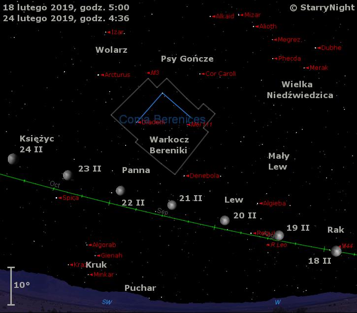 Położenie Księżyca i mirydy R Leonis w trzecim tygodniu lutego 2019 r.