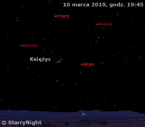 Położenie Księżyc oraz planet Uran i Mars 10 marca 2019 r.