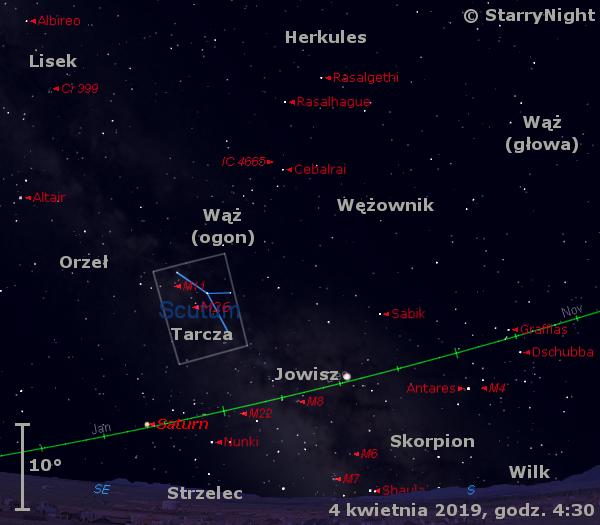 Położenie planet Jowisz iSaturn wpierwszym tygodniu kwietnia 2019 r.