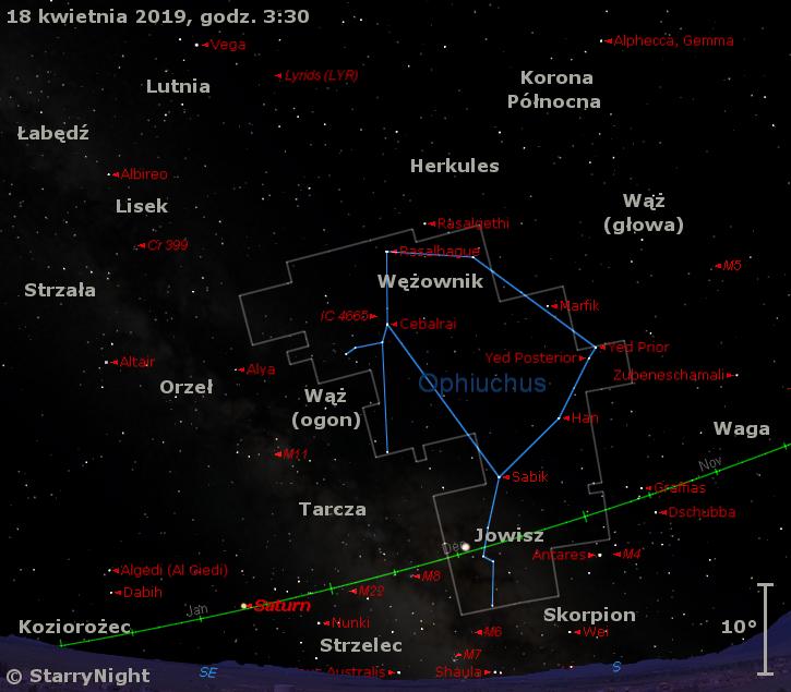 Położenie planet Jowisz i Saturn oraz radiantu Lirydów w trzecim tygodniu kwietnia 2019 r.