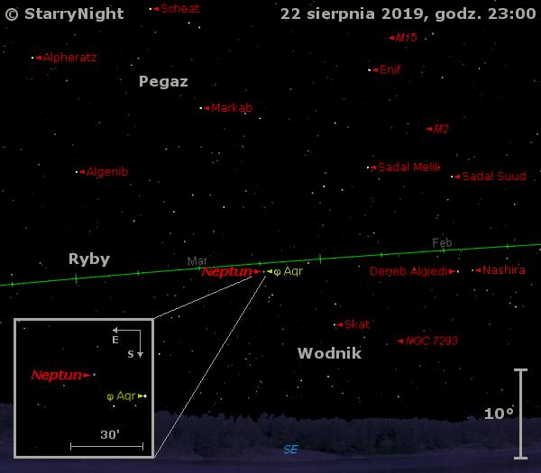 Położenie Neptuna na początku trzeciej dekady sierpnia 2019 r.
