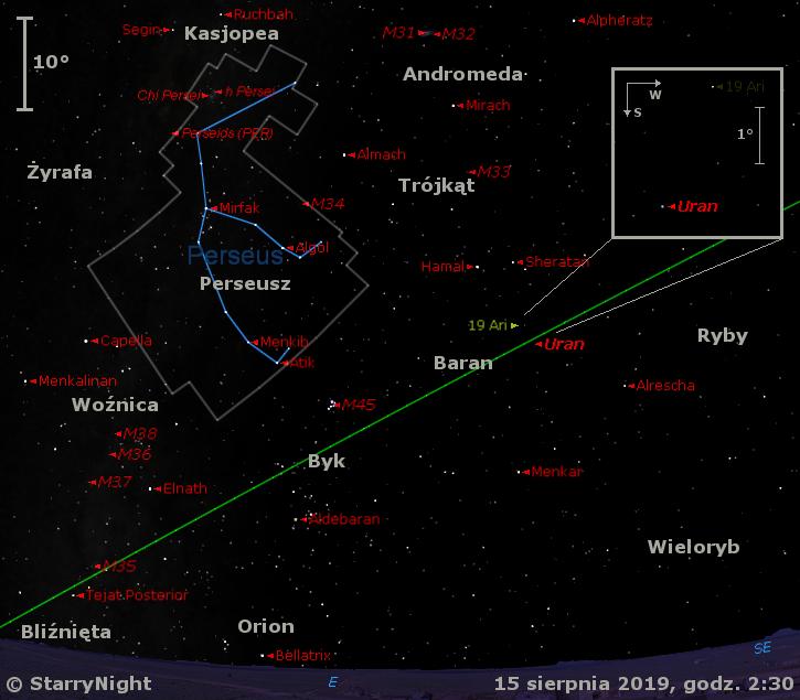 Położenie planety Uran oraz radiantu Perseidów w drugim tygodniu sierpnia 2019 r.