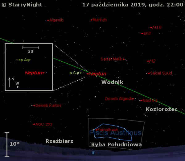 Położenie planety Neptun w trzecim tygodniu października 2019 r.