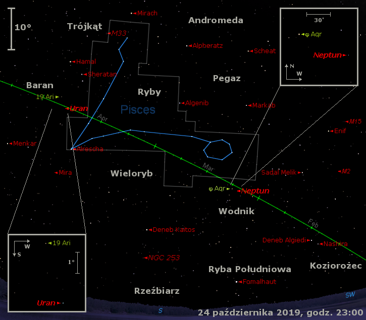 Położenie planet Neptun i Uran w czwartym tygodniu października 2019 r.