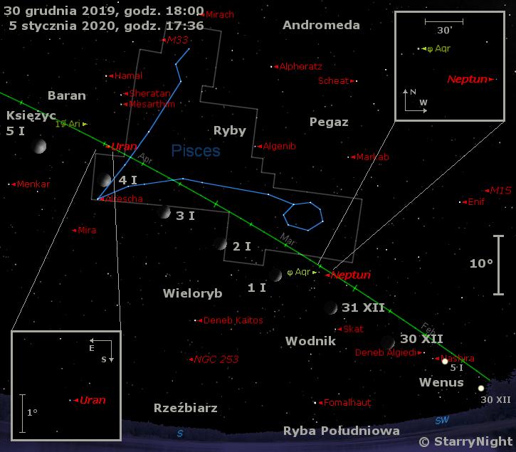 Położenie Księżyca oraz planet Wenus, Neptun i Uran w pierwszym tygodniu stycznia 2020 r.