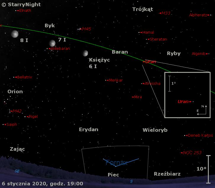 Położenie Księżyca, Urana oraz Miry Ceti w drugim tygodniu stycznia 2020 r.