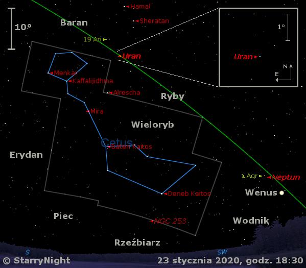 Położenie planety Uran w czwartym tygodniu stycznia 2020 r.