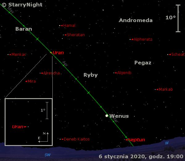 Położenie planet Neptun, Wenus iUran orazMiry Ceti wpierwszym tygodniu lutego 2020 r.