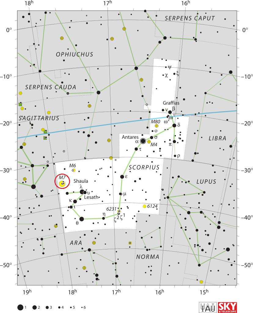 Mapa nieba ukazująca położenie obiektu