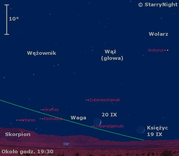 Położenie Księżyca wkońcu drugiej dekady września 2020 r.