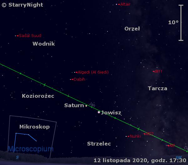 Położenie planet Jowisz iSaturn wdrugim tygodniu listopada 2020 r.