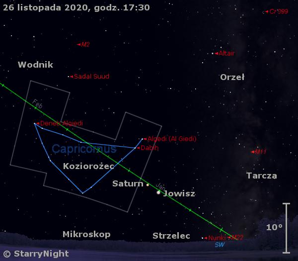 Położenie planet Jowisz iSaturn wczwartym tygodniu listopada 2020 r.