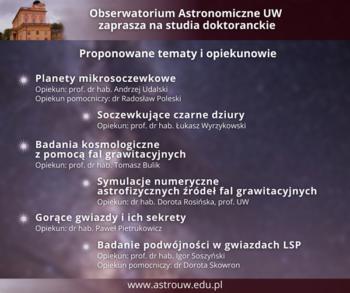 Studia doktoranckie zastronomii naUniwersytecie Warszawskim