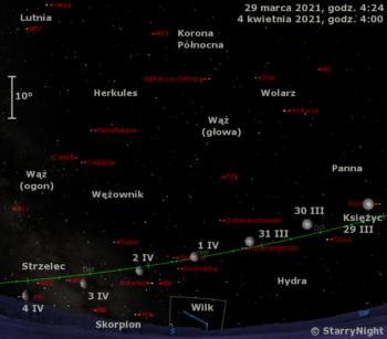 Położenie Księżyca naprzełomie marca ikwietnia 2021 r.