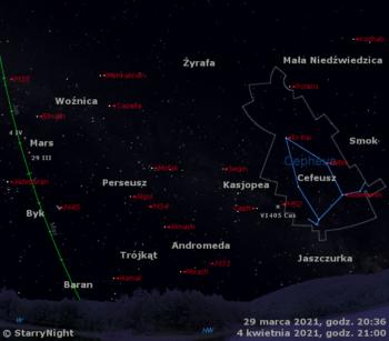 Położenie Marsa iV1405 Cas naprzełomie marca ikwietnia 2021 r.