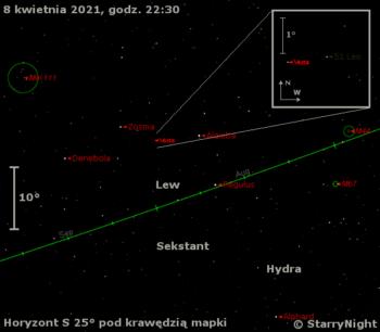 Położenie Westy wkońcu pierwszej dekady kwietnia 2021 r.