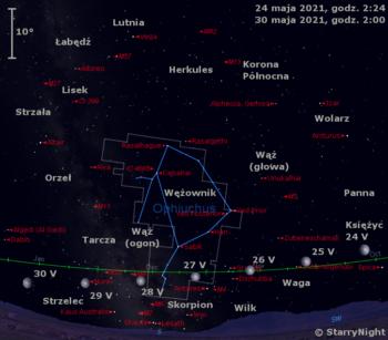 Położenie Księżyca wostatnim tygodniu maja 2021 r.
