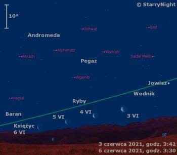 Położenie Księżyca wkońcu pierwszego tygodnia czerwca 2021 r.