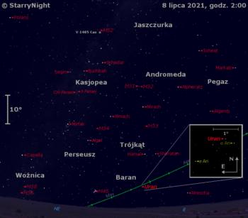 Położenie Urana orazgwiazdy nowej V1405 Cas wkońcu pierwszej dekady lipca 2021 r.