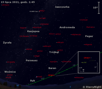 Położenie Urana igwiazdy nowej V1405 Cas napoczątku drugiej dekady lipca 2021 r.