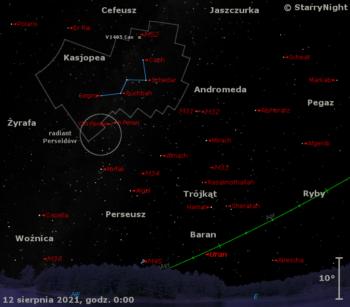 Położenie Urana, nowej V1405 Cas iradiantu Perseidów wdrugim tygodniu sierpnia 2021 roku
