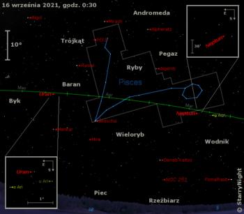 Położenie planet Neptun iUran orazMiry wtrzecim tygodniu września 2021 roku