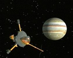 Artystyczna wizja sondy Galileo i Jowisza