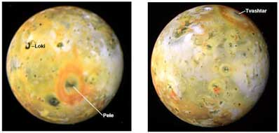 Wulkany Loki i Pele na powierzchni Io