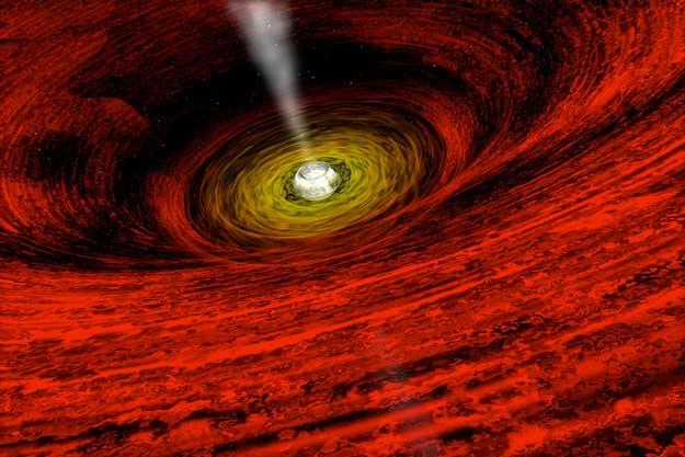 Artystyczne przedstawienie rotującej czarnej dziury